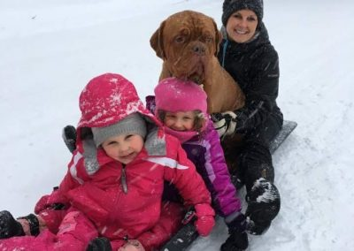 Blooms County Dogue client family sleding pic
